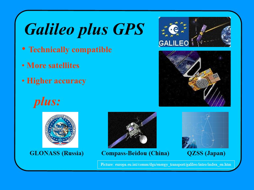 Picture: europa.eu.int/comm/dgs/energy_transport/galileo/intro/index_en.htm Galileo plus GPS Technically compatible More satellites Higher accuracy pl