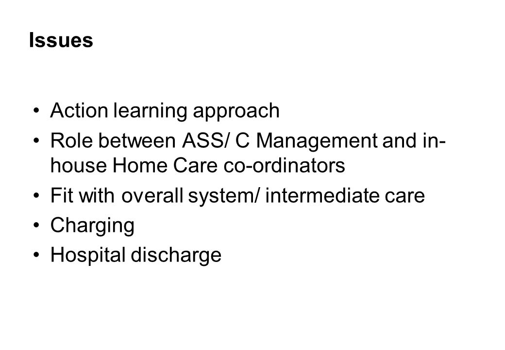 Issues Action learning approach Role between ASS/ C Management and in- house Home Care co-ordinators Fit with overall system/ intermediate care Charging Hospital discharge