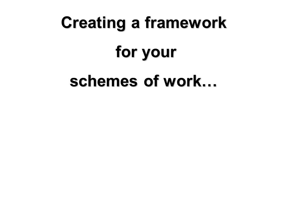 Creating a framework for your for your schemes of work…