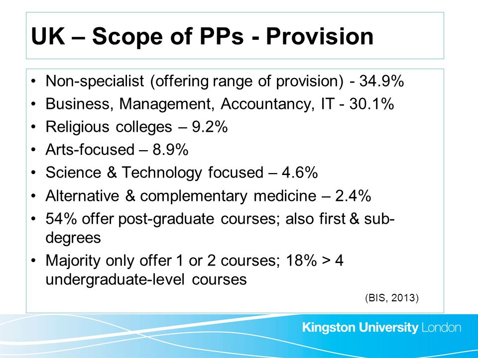 UK – Scope of PPs - Provision Non-specialist (offering range of provision) - 34.9% Business, Management, Accountancy, IT - 30.1% Religious colleges –