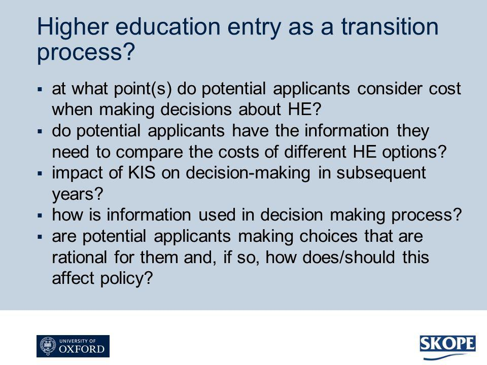 at what point(s) do potential applicants consider cost when making decisions about HE? do potential applicants have the information they need to compa