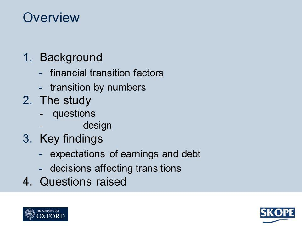1.Background -financial transition factors -transition by numbers 2.The study - questions - design 3.Key findings -expectations of earnings and debt -