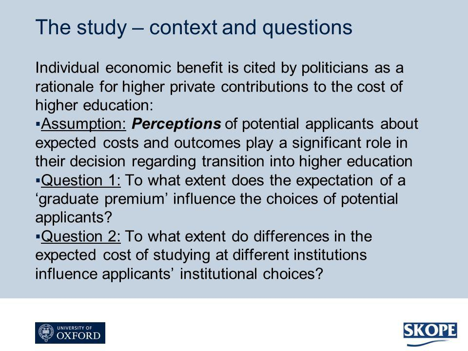 Individual economic benefit is cited by politicians as a rationale for higher private contributions to the cost of higher education: Assumption: Perce