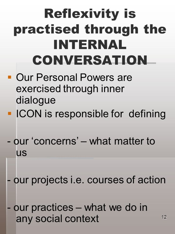 Reflexivity is practised through the INTERNAL CONVERSATION Our Personal Powers are exercised through inner dialogue ICON is responsible for defining - our concerns – what matter to us - our projects i.e.