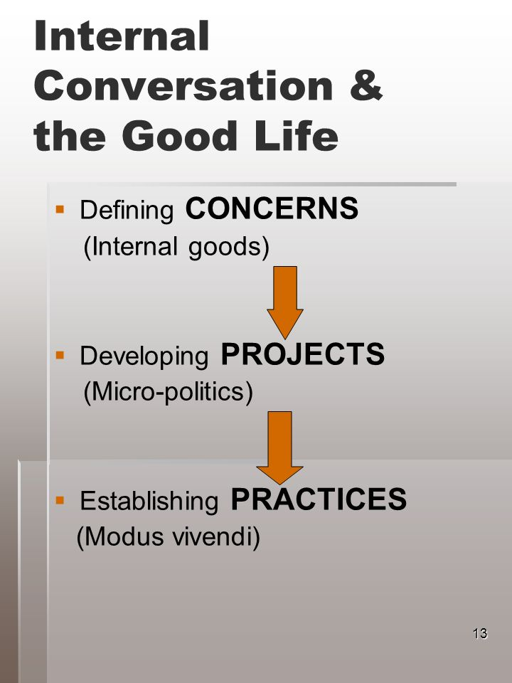 Internal Conversation & the Good Life Defining CONCERNS (Internal goods) Developing PROJECTS (Micro-politics) Establishing PRACTICES (Modus vivendi) 13