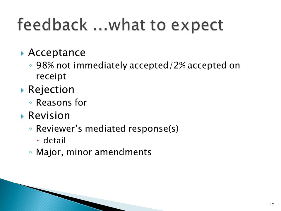Acceptance 98% not immediately accepted/2% accepted on receipt Rejection Reasons for Revision Reviewers mediated response(s) detail Major, minor amend