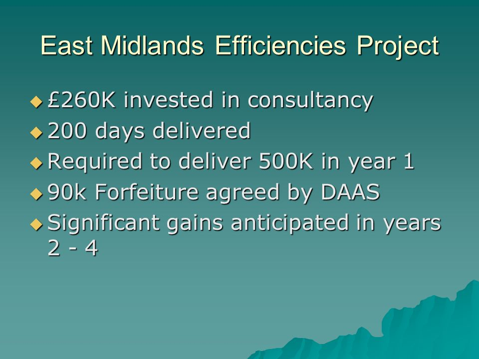 East Midlands Efficiencies Project £260K invested in consultancy £260K invested in consultancy 200 days delivered 200 days delivered Required to deliver 500K in year 1 Required to deliver 500K in year 1 90k Forfeiture agreed by DAAS 90k Forfeiture agreed by DAAS Significant gains anticipated in years 2 - 4 Significant gains anticipated in years 2 - 4