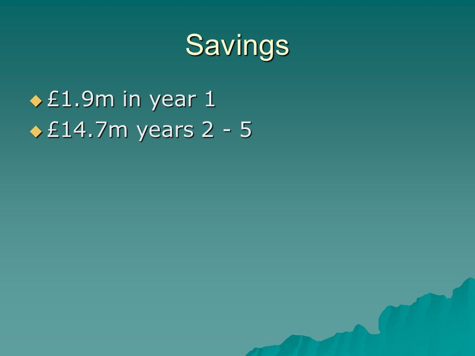 Savings £1.9m in year 1 £1.9m in year 1 £14.7m years 2 - 5 £14.7m years 2 - 5