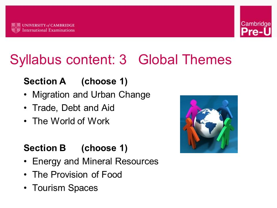 Syllabus content: 3 Global Themes Section A (choose 1) Migration and Urban Change Trade, Debt and Aid The World of Work Section B (choose 1) Energy an
