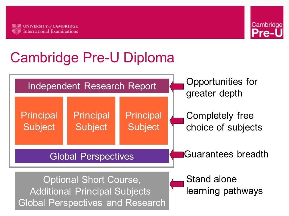 Cambridge Pre-U Diploma Principal Subject Global Perspectives Independent Research Report Optional Short Course, Additional Principal Subjects Global