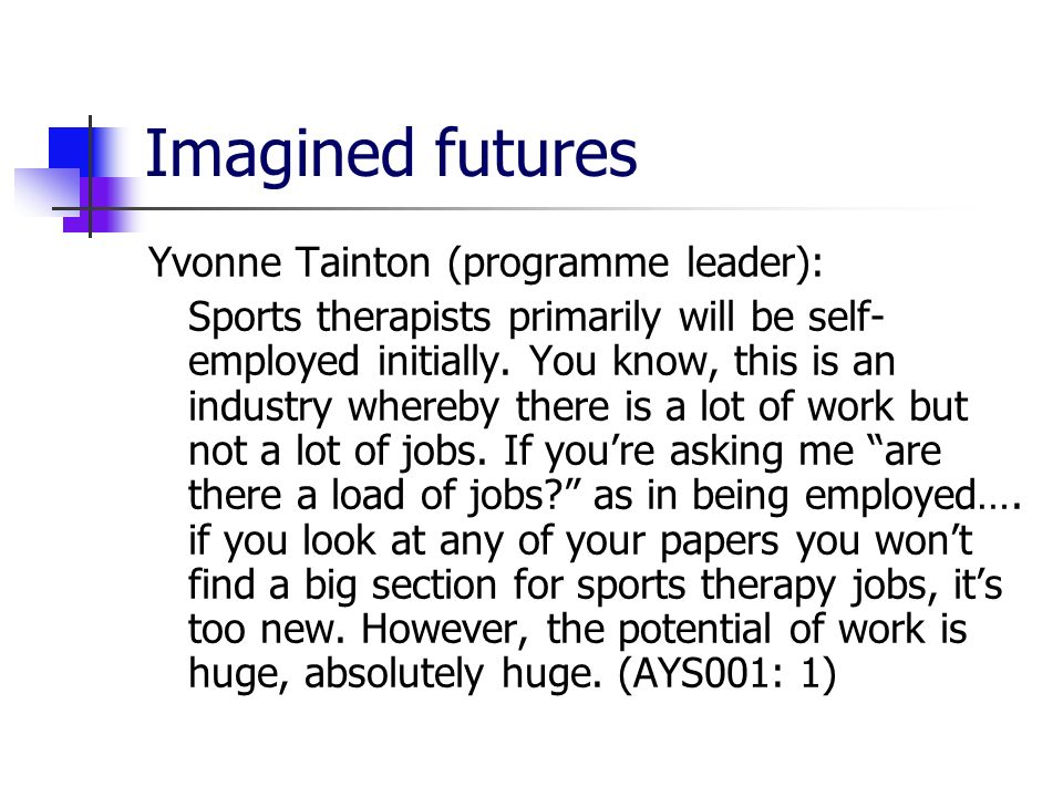 Imagined futures Yvonne Tainton (programme leader): Sports therapists primarily will be self- employed initially.