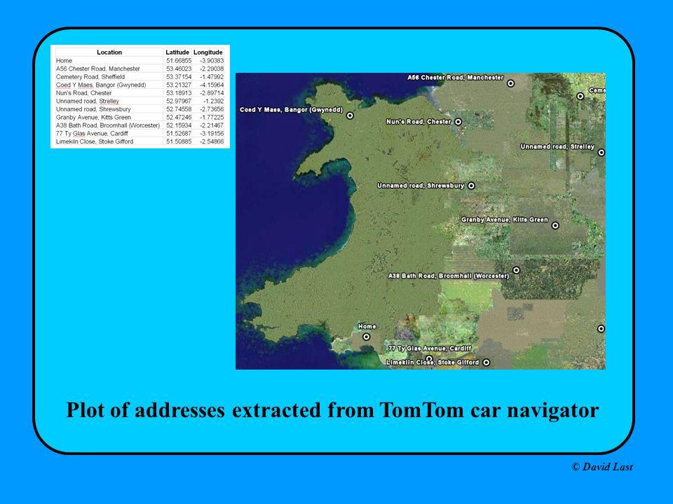 © David Last Plot of addresses extracted from TomTom car navigator