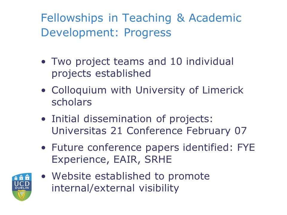 Fellowships in Teaching & Academic Development: Progress Two project teams and 10 individual projects established Colloquium with University of Limerick scholars Initial dissemination of projects: Universitas 21 Conference February 07 Future conference papers identified: FYE Experience, EAIR, SRHE Website established to promote internal/external visibility