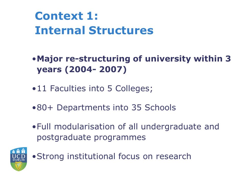 Context 1: Internal Structures Major re-structuring of university within 3 years (2004- 2007) 11 Faculties into 5 Colleges; 80+ Departments into 35 Schools Full modularisation of all undergraduate and postgraduate programmes Strong institutional focus on research