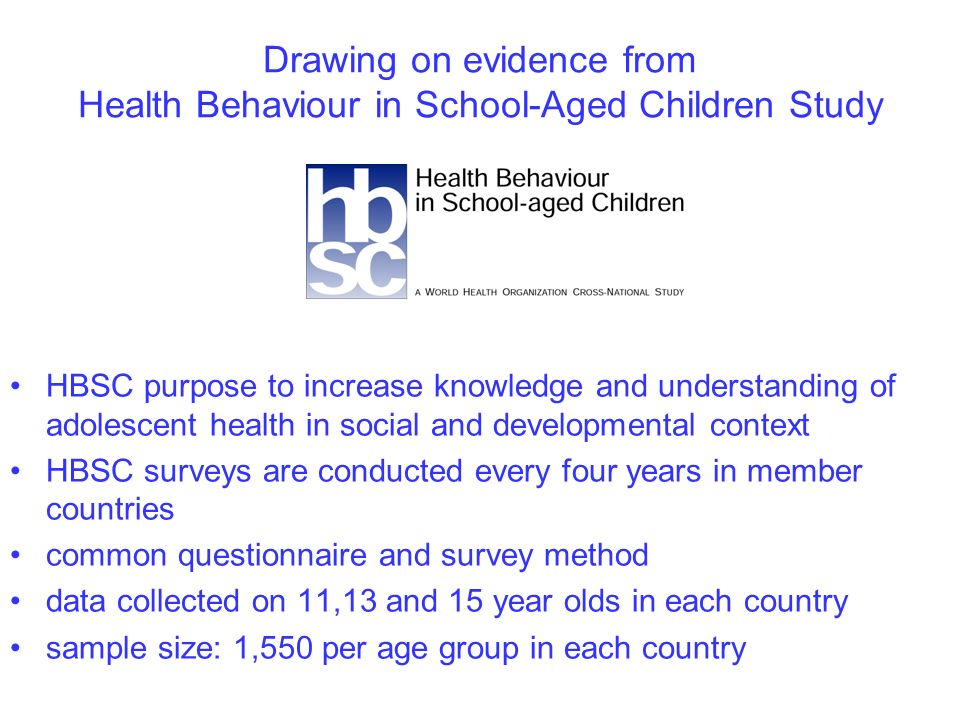 Drawing on evidence from Health Behaviour in School-Aged Children Study HBSC purpose to increase knowledge and understanding of adolescent health in social and developmental context HBSC surveys are conducted every four years in member countries common questionnaire and survey method data collected on 11,13 and 15 year olds in each country sample size: 1,550 per age group in each country