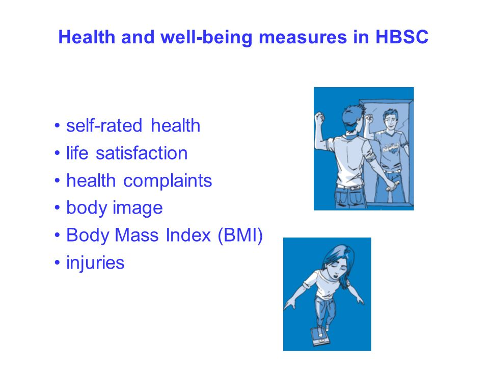 Health and well-being measures in HBSC self-rated health life satisfaction health complaints body image Body Mass Index (BMI) injuries