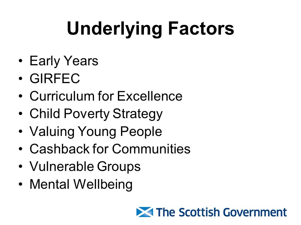 Underlying Factors Early Years GIRFEC Curriculum for Excellence Child Poverty Strategy Valuing Young People Cashback for Communities Vulnerable Groups