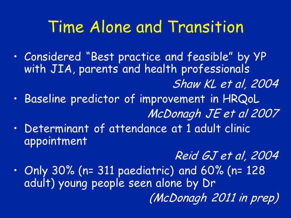 Time Alone and Transition Considered Best practice and feasible by YP with JIA, parents and health professionals Shaw KL et al, 2004 Baseline predicto