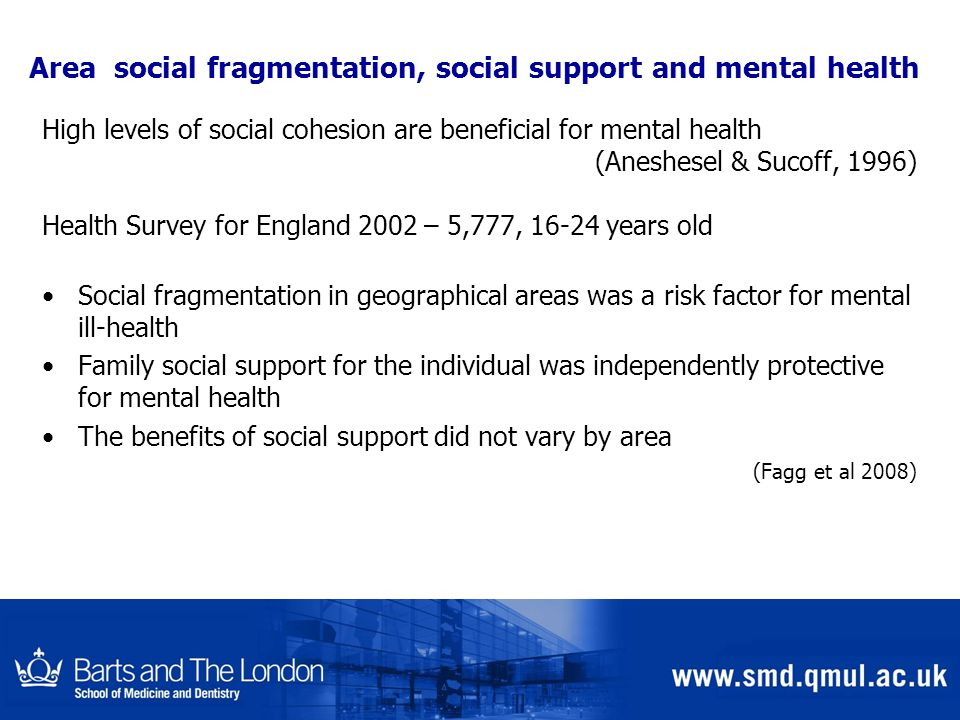 Area social fragmentation, social support and mental health High levels of social cohesion are beneficial for mental health (Aneshesel & Sucoff, 1996)
