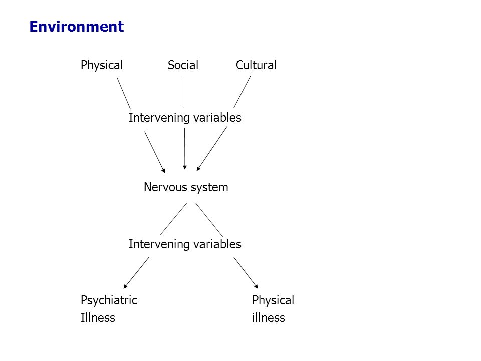 Environment Physical Social Cultural Intervening variables Nervous system Intervening variables Psychiatric Physical Illness illness