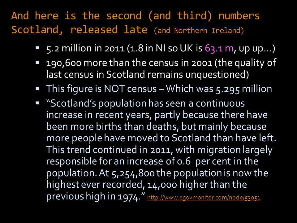 And here is the second (and third) numbers Scotland, released late (and Northern Ireland) 5.2 million in 2011 (1.8 in NI so UK is 63.1 m, up up…) 190,600 more than the census in 2001 (the quality of last census in Scotland remains unquestioned) This figure is NOT census – Which was million Scotlands population has seen a continuous increase in recent years, partly because there have been more births than deaths, but mainly because more people have moved to Scotland than have left.