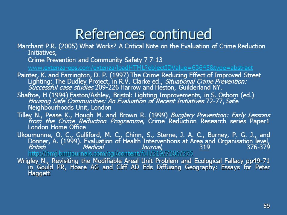 59 References continued Marchant P.R. (2005) What Works.