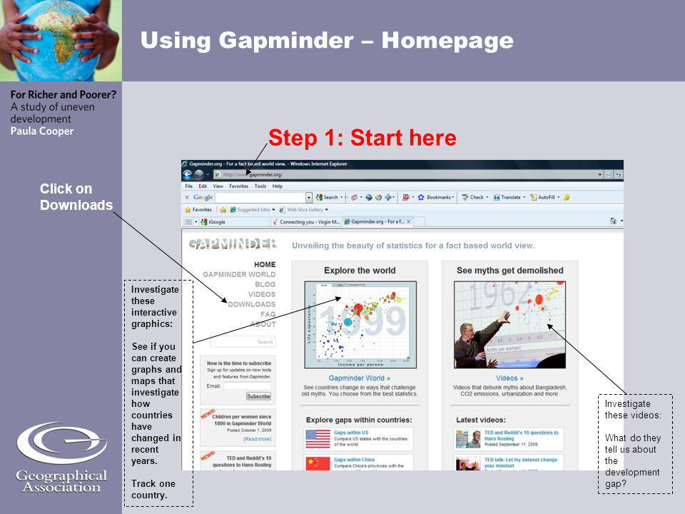 Using Gapminder – Homepage Step 1: Start here Click on Downloads Investigate these videos: What do they tell us about the development gap? Investigate