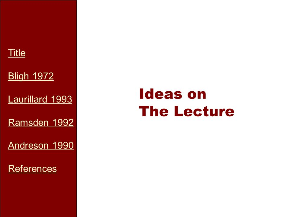 Title Bligh 1972 Laurillard 1993 Ramsden 1992 Andreson 1990 References Ideas on The Lecture