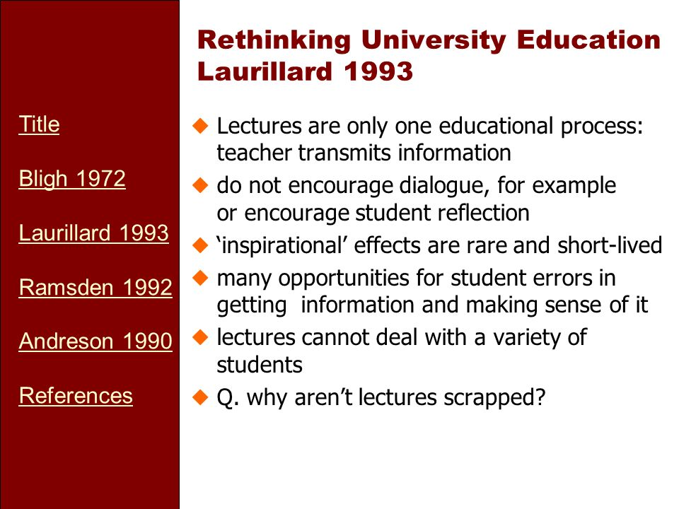 Title Bligh 1972 Laurillard 1993 Ramsden 1992 Andreson 1990 References Rethinking University Education Laurillard 1993 uLectures are only one educatio