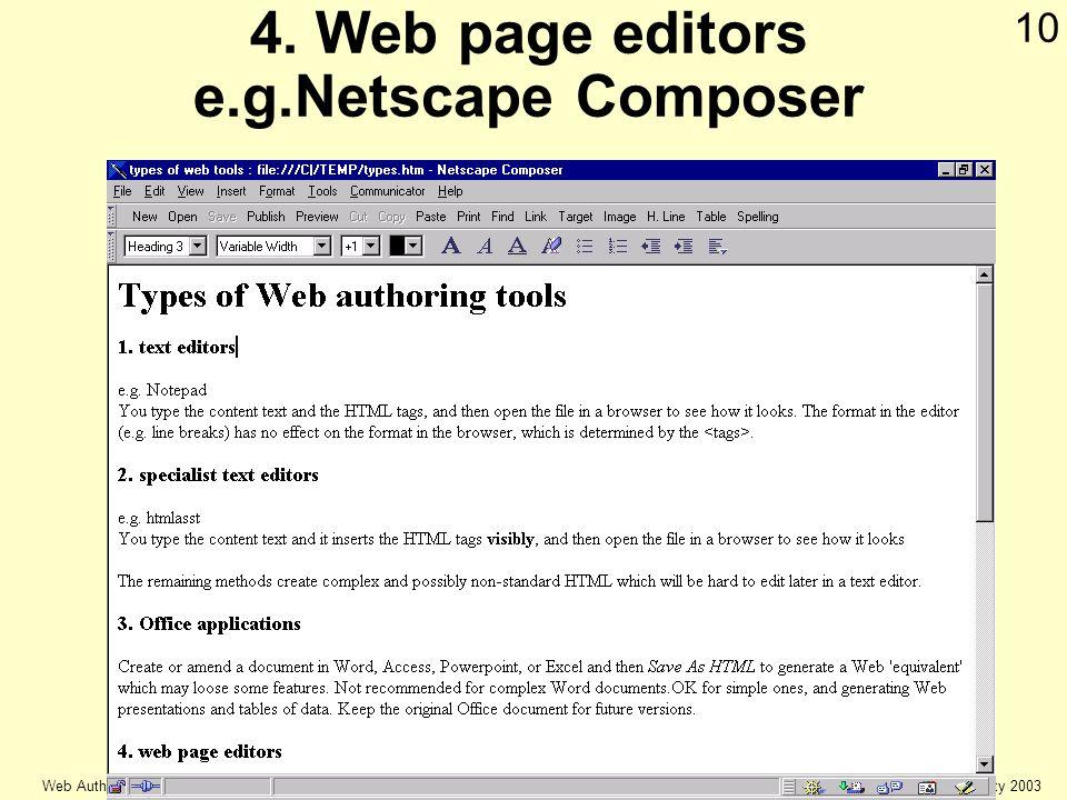 © Keele university 2003 Web Authoring 10 4. Web page editors e.g.Netscape Composer