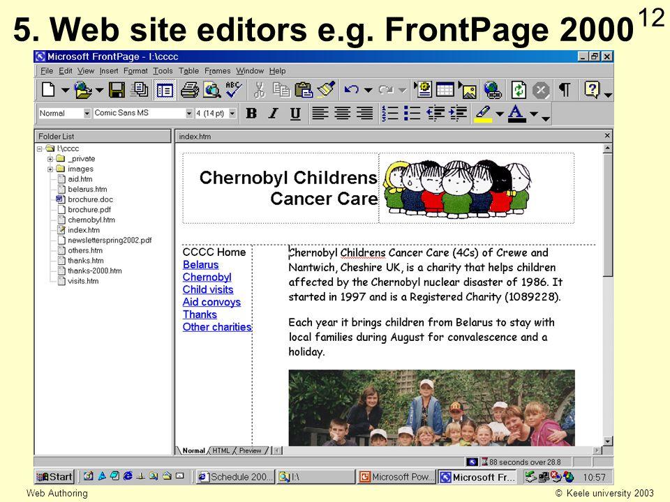 © Keele university 2003 Web Authoring 12 5. Web site editors e.g. FrontPage 2000