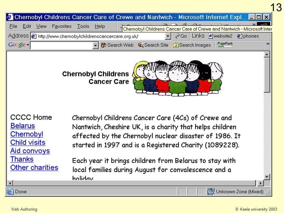 © Keele university 2003 Web Authoring 13