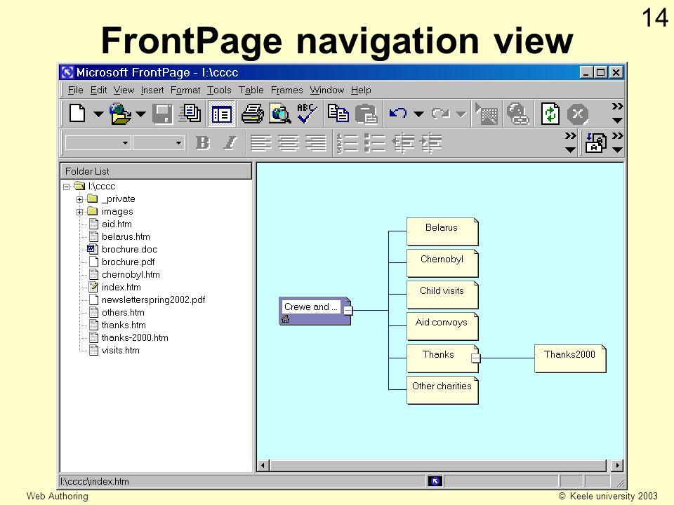 © Keele university 2003 Web Authoring 14 FrontPage navigation view