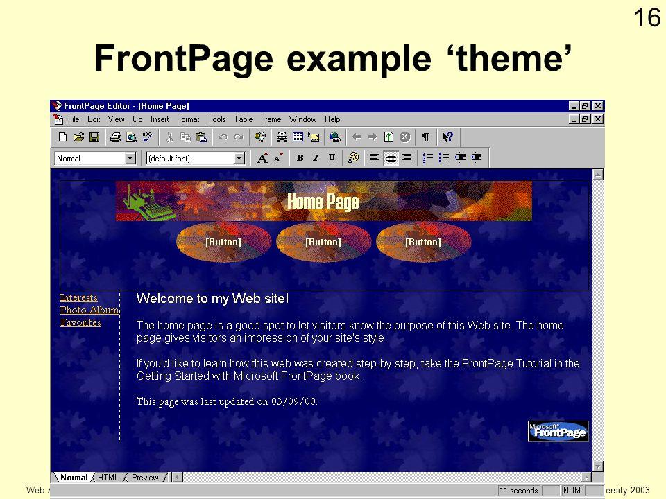 © Keele university 2003 Web Authoring 16 FrontPage example theme