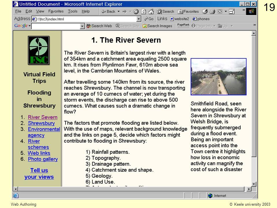 © Keele university 2003 Web Authoring 19