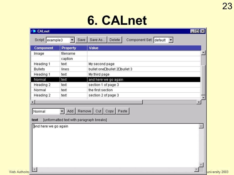 © Keele university 2003 Web Authoring 23 6. CALnet
