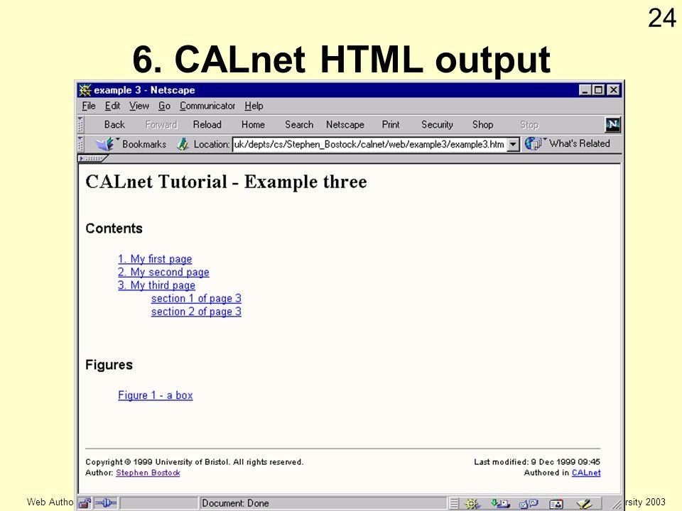 © Keele university 2003 Web Authoring 24 6. CALnet HTML output