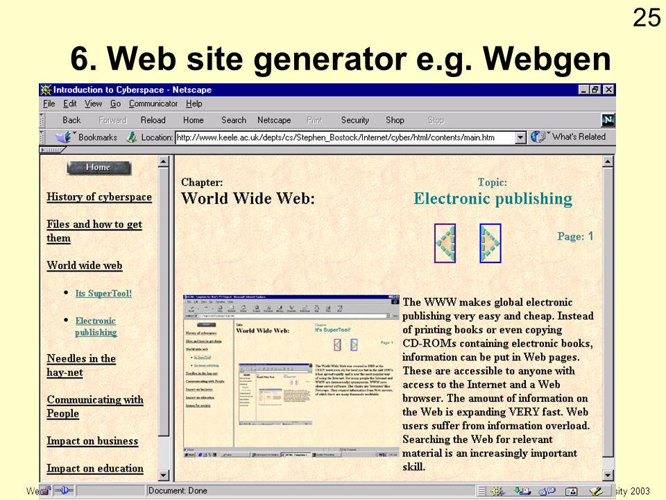 © Keele university 2003 Web Authoring 25 6. Web site generator e.g. Webgen