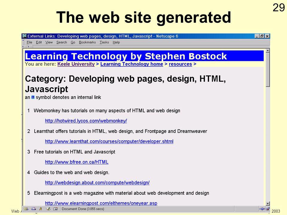 © Keele university 2003 Web Authoring 29 The web site generated