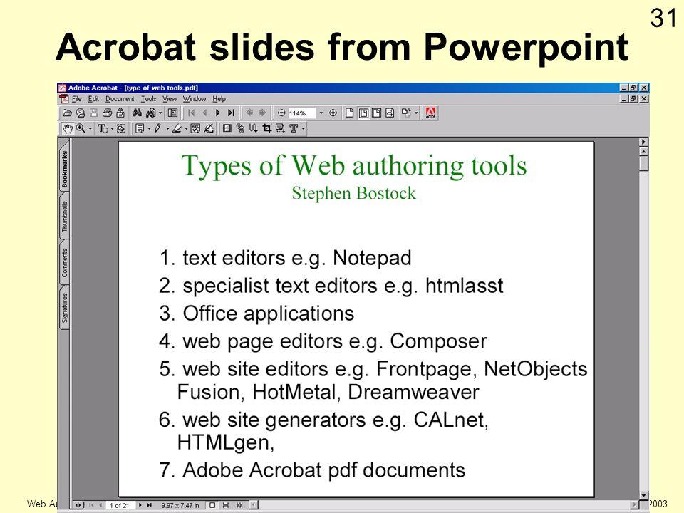 © Keele university 2003 Web Authoring 31 Acrobat slides from Powerpoint