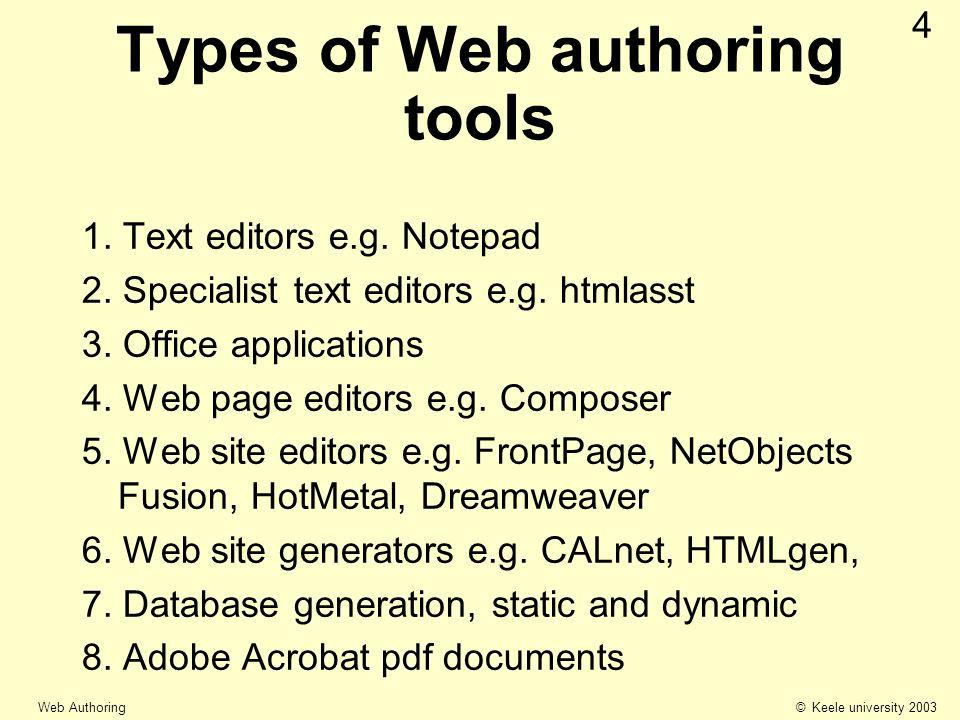 © Keele university 2003 Web Authoring 4 Types of Web authoring tools 1.