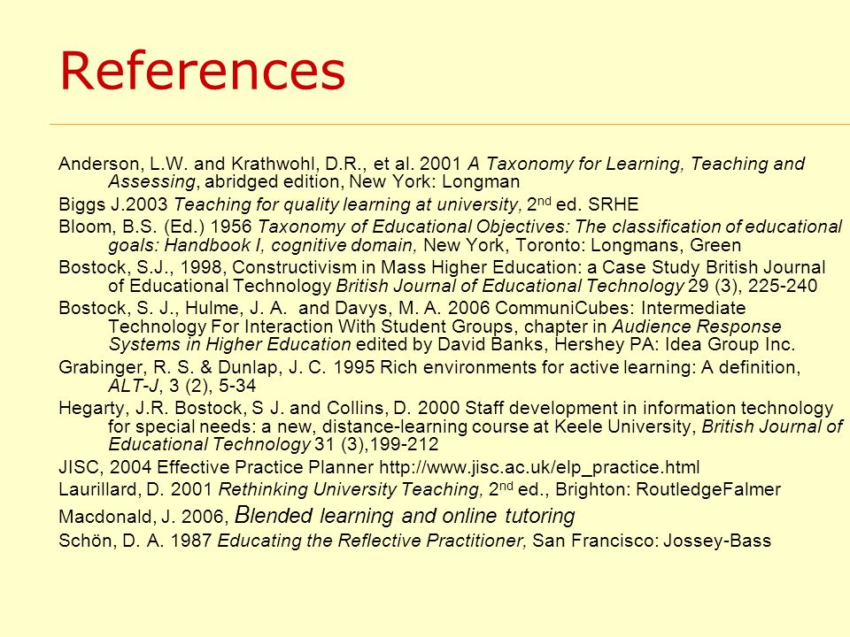 References Anderson, L.W. and Krathwohl, D.R., et al. 2001 A Taxonomy for Learning, Teaching and Assessing, abridged edition, New York: Longman Biggs