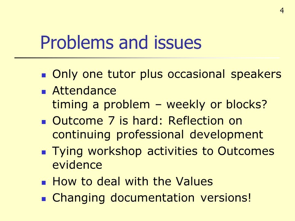 4 Problems and issues Only one tutor plus occasional speakers Attendance timing a problem – weekly or blocks? Outcome 7 is hard: Reflection on continu