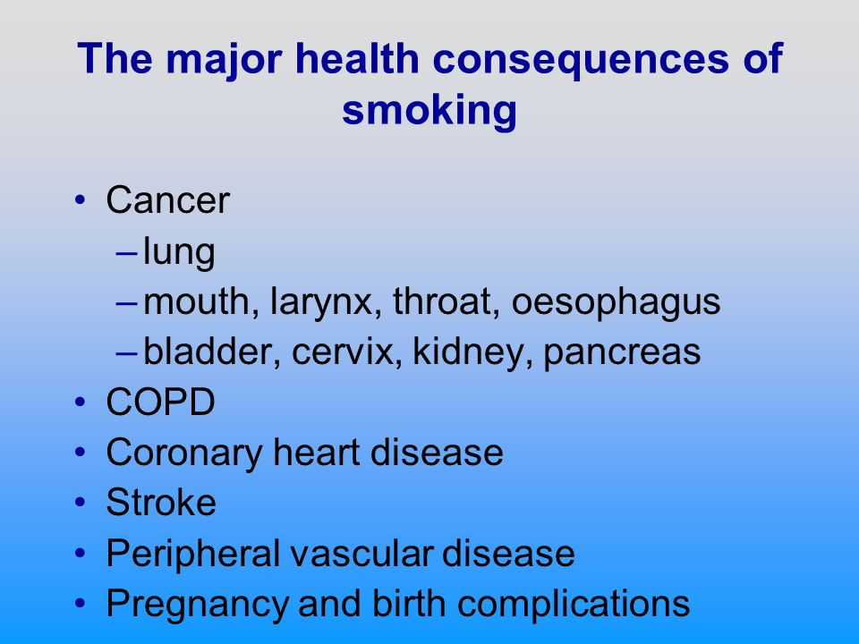Mortality associated with smoking At least 320 deaths every day from smoking in the UK, 120,000 per year 1/5 all deaths across all ages 1/4 all deaths in age group 35-64 years 1 in 2 lifetime risk for smokers 7.5 years average loss of life expectancy Over half of the difference in risk of death in middle age between professional and unskilled men 4 million deaths worldwide