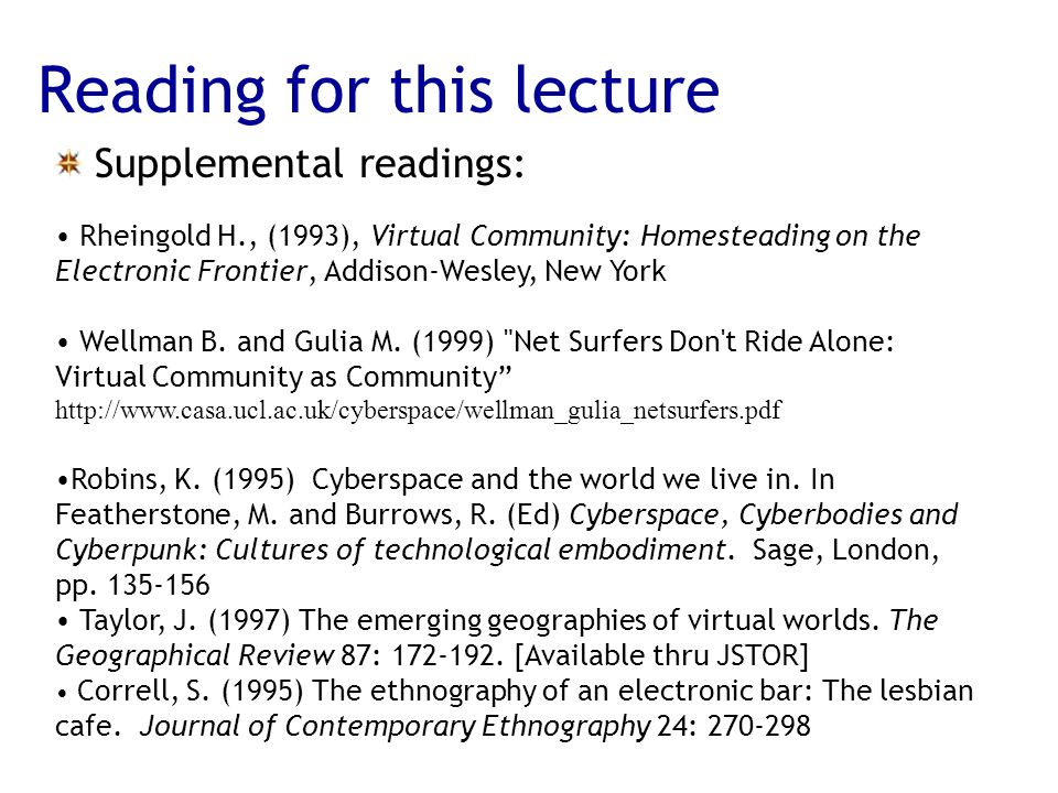 Reading for this lecture Supplemental readings: Rheingold H., (1993), Virtual Community: Homesteading on the Electronic Frontier, Addison-Wesley, New