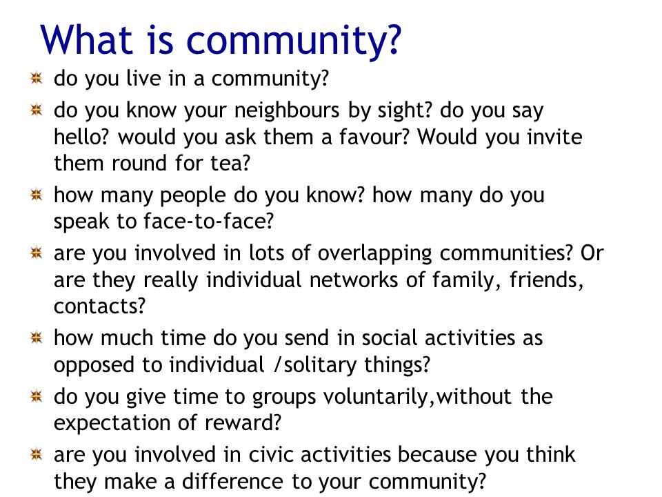What is community. do you live in a community. do you know your neighbours by sight.