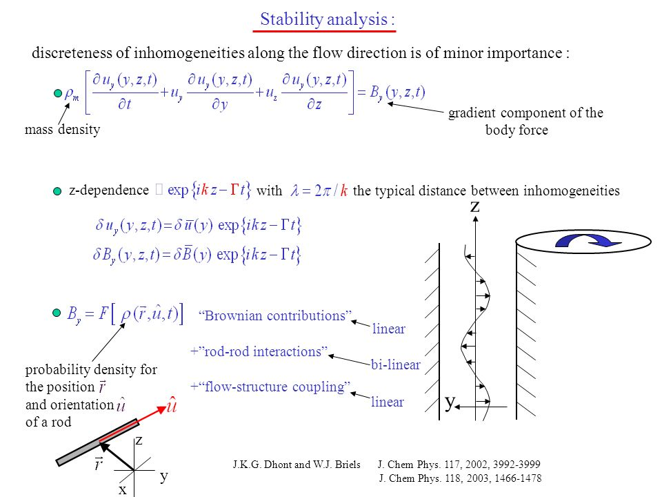 Stability analysis : discreteness of inhomogeneities along the flow direction is of minor importance : mass density gradient component of the body for