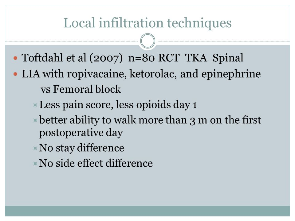 Local infiltration techniques Toftdahl et al (2007) n=80 RCT TKA Spinal LIA with ropivacaine, ketorolac, and epinephrine vs Femoral block Less pain sc