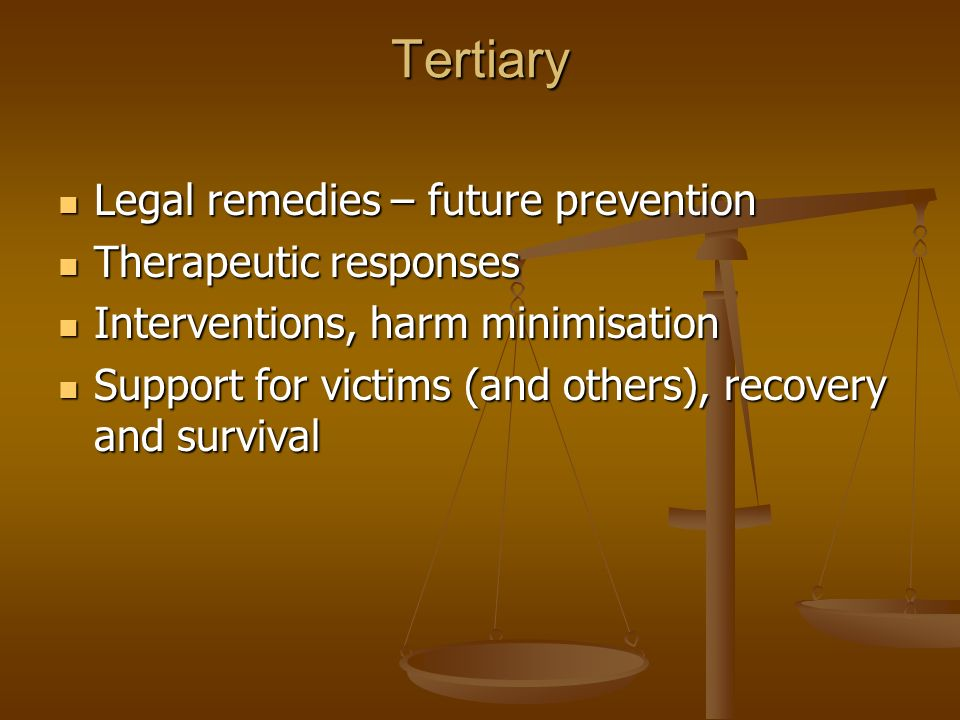 Tertiary Legal remedies – future prevention Legal remedies – future prevention Therapeutic responses Therapeutic responses Interventions, harm minimisation Interventions, harm minimisation Support for victims (and others), recovery and survival Support for victims (and others), recovery and survival