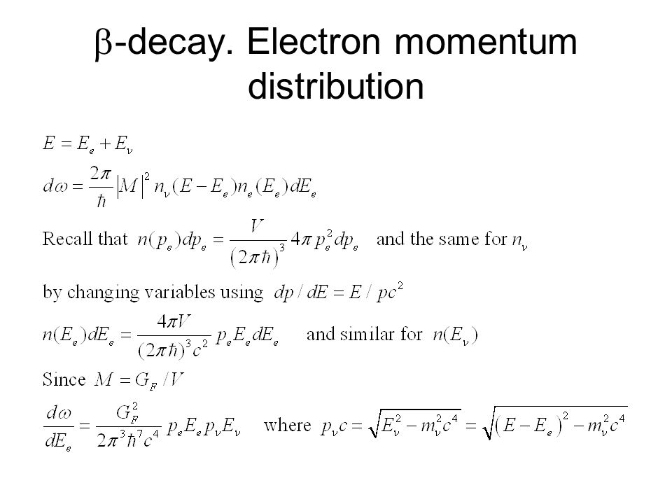-decay. Electron momentum distribution
